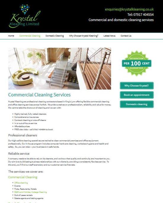 Krystal Kleaning Website - SEO project by Ignyte Digital,  Saffron Walden Essex